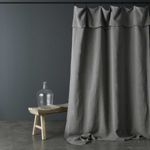 Washed linen grey curtain with black bumblebee 160X270 CM