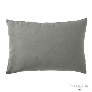 Taie d'oreiller en lin stone washed gris souris