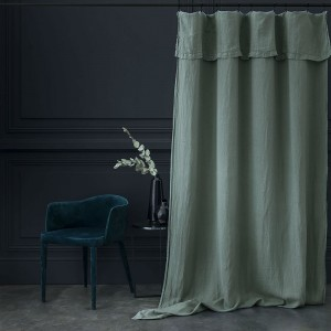 Stone washed linen lichen curtain
