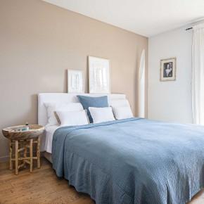 Dessus de lit Saint-Tropez gaze de coton bleu fumé