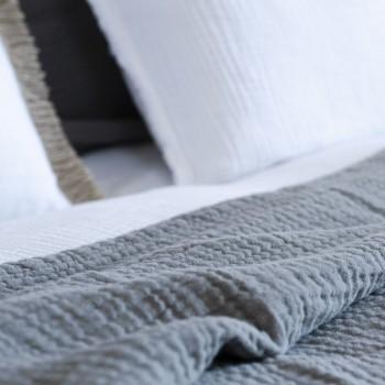 Dessus de lit Saint-Tropez gaze de coton gris souris