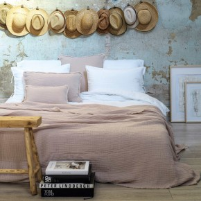 Dessus de lit Ibiza en gaze de coton nude