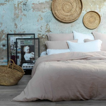 Nude cotton gauze duvet cover