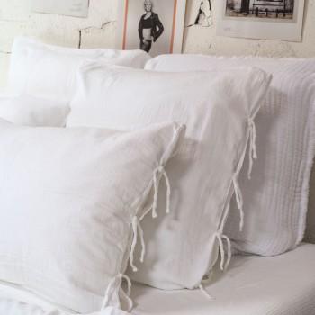 Taie d'oreiller gaze de coton light blanc