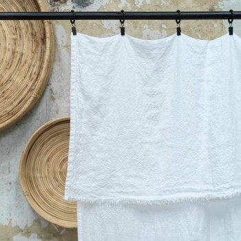 Rideau en lin lavé ivoire effiloché