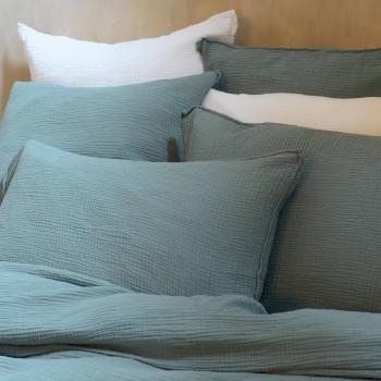 Taie d'oreiller gaze de coton bleu minéral
