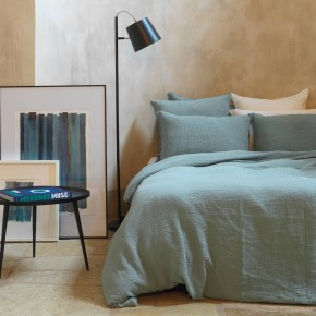 Mineral blue cotton gauze pillow cover