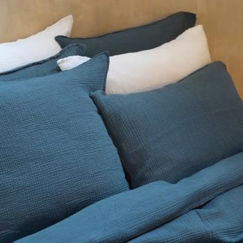 Storm blue cotton gauze pillow cover