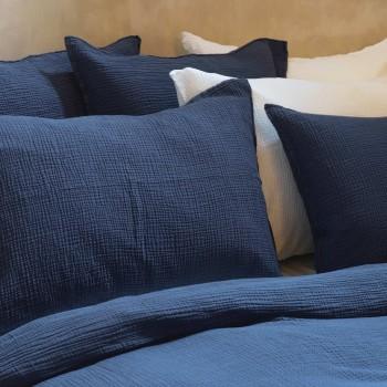 Taie d'oreiller gaze de coton bleu nuit