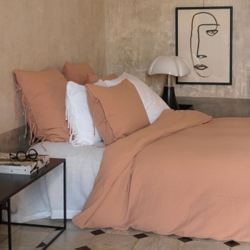 Terracotta cotton gauze duvet cover light