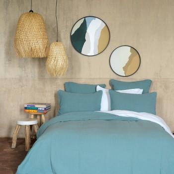 Bedspread Minorca cotton gauze mineral blue