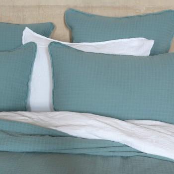 Cushion cover Minorca cotton guaze mineral blue