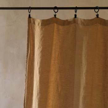 Camel washed linen curtain
