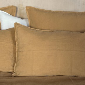 Camel washed linen pillowcase
