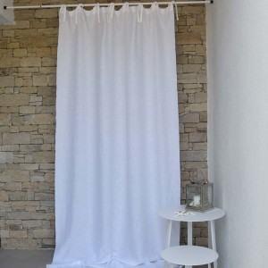 White washed linen curtain with gray bourdon stitching