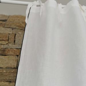 Rideau lin lavé blanc bourdon noir