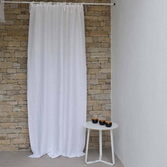 White washed linen curtain with black bourdon stitching
