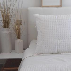 Dessus de lit Plumetis blanc et naturel en coton
